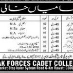 Pak Forces Cadet College Jobs 2017