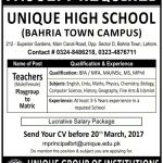 Teachers Required At Unique High School Lahore 2017