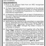 Professor Jobs At University of Karachi 2017