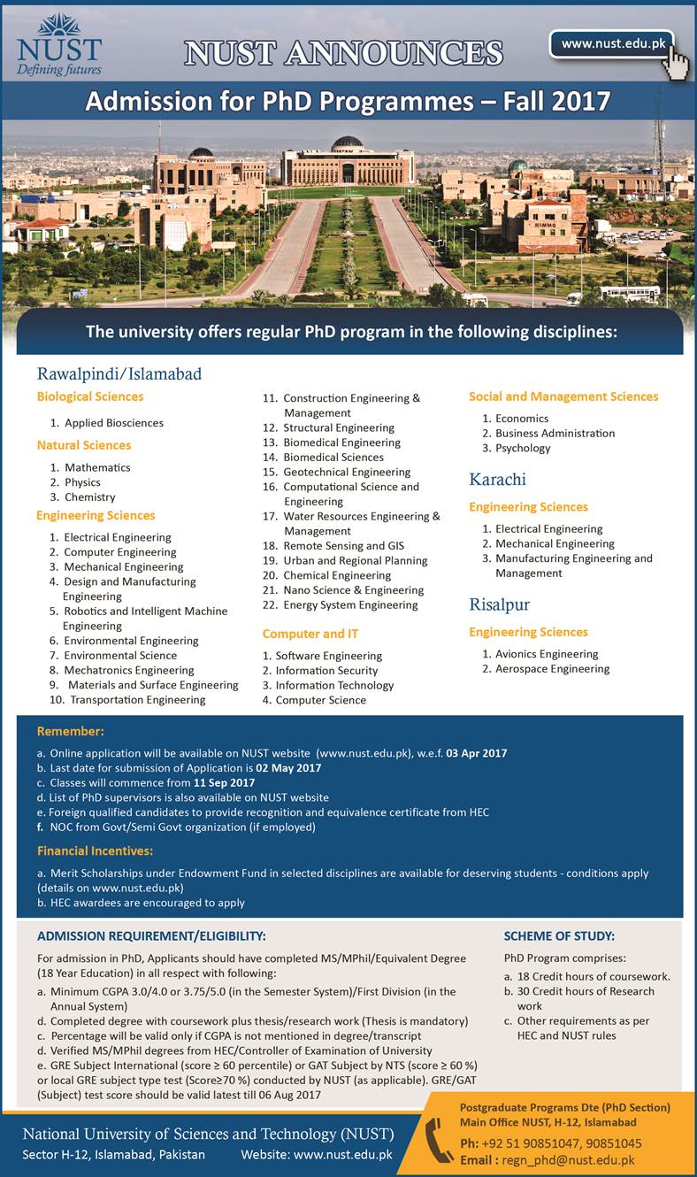 PHD Admission NUST 2017