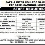 Fazaia Inter College Samungli Jobs 2017