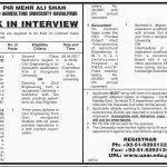 Pir Mehar Ali Shah Arid Agriculture University Jobs 2017