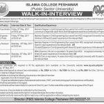 Islamia College Peshawar Jobs 2017