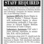 Cadet College Warsak Peshawar Jobs 2017
