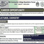 Lecturer Jobs At  IBA Community College Naushahro Feroze 2017