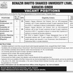 Benazir Bhutto Shaheed University Jobs 2019