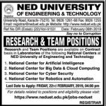 NED University Of Engineering Technology Jobs 2019