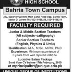 Unique High School Bahria Jobs 2019